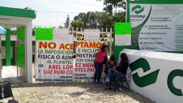 Toman profesores del Conalep de San Antonio de la Cal en disputa por plazas