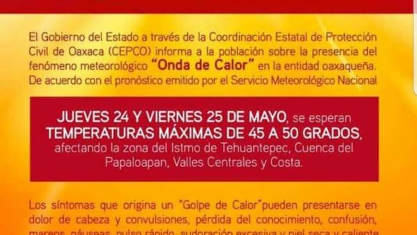 Alertan por ola de calor en Oaxaca, estás son las recomendaciones que emite el gobierno de Santa Lucía del Camino.