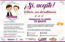 Extienden plazo para beneficiar a parejas de Xoxocotlán con programa de bodas colectivas