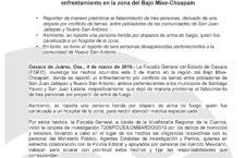 Investiga Fiscalía General hechos derivados de un enfrentamiento en la zona del Bajo Mixe-Choapam