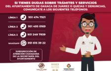 Brinda Ayuntamiento de Oaxaca atención ciudadana a través de 2,328 llamadas telefónicas