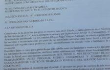 Posicionamiento del Ayuntamiento de San Antonio de la Cal por conflicto en el Centro de Salud