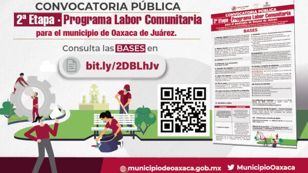 Abre Ayuntamiento de Oaxaca la convocatoria para segunda etapa del Programa Labor Comunitaria