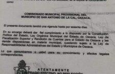 Nuevamente Comisionado pretende violentar los  Usos y Costumbres de San Antonio de la Cal.
