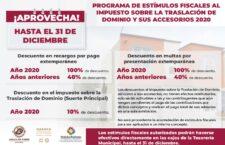 Continúan vigentes estímulos fiscales al impuesto sobre la traslación de dominio en Oaxaca de Juárez