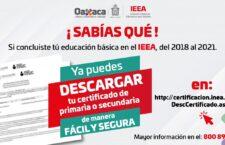 Imprime tu certificado de educación básica del IEEA Oaxaca